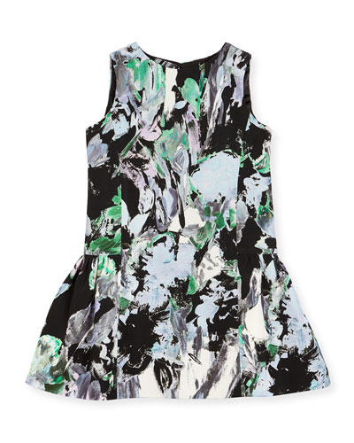 Sleeveless Painted Floral Smocked Dress, Black/Multicolor, Size 4-6