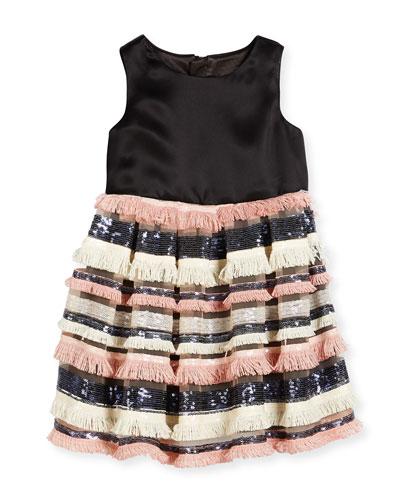 Sleeveless Sequin & Fringe Pleated Dress, Blush, Size 4-6