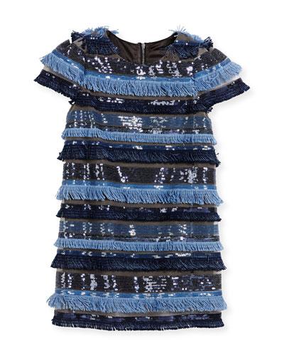 Chloe Cap-Sleeve Sequin & Fringe Shift Dress, Ice, Size 4-6