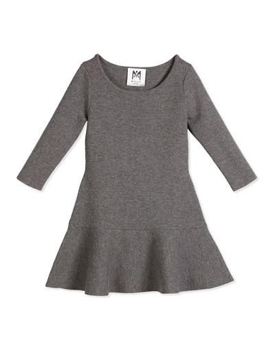 3/4-Sleeve Slub Jersey Flounce Dress, Charcoal, Size 4-7