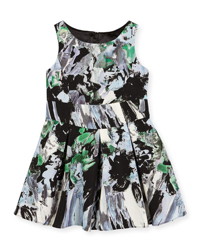 Sleeveless Painted Floral Pleated Dress, Black/Multicolor, Size 8-14