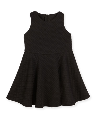 Racerback Trapunto Circle Dress, Black, Size 8-14