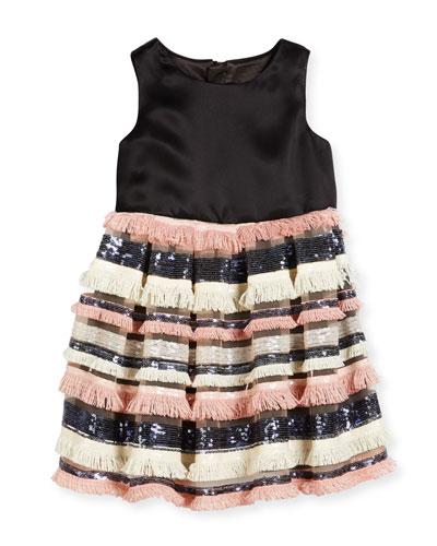 Sleeveless Sequin & Fringe Pleated Dress, Blush, Size 8-14