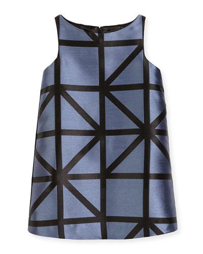 Sleeveless Angular Jacquard Mini Dress, Ice/Black, Size 8-14
