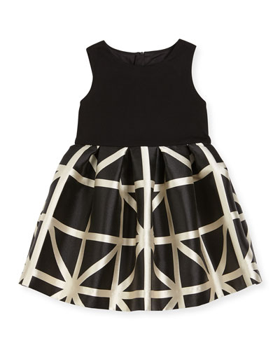 Sleeveless Ponte & Jacquard Combo Dress, Black/White, Size 8-14