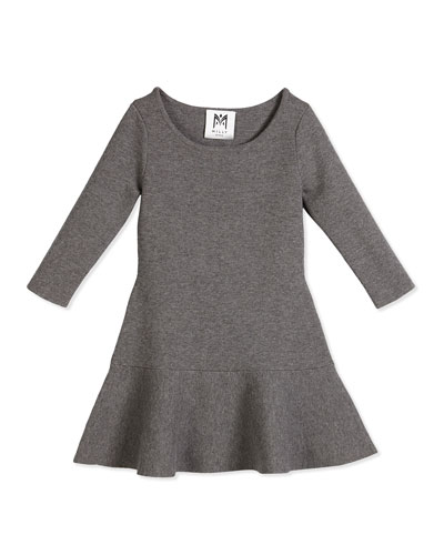 3/4-Sleeve Slub Jersey Flounce Dress, Charcoal, Size 8-14