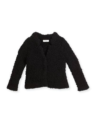Plush Ribbed Cashmere-Blend Jacket, Black, Size 8-14