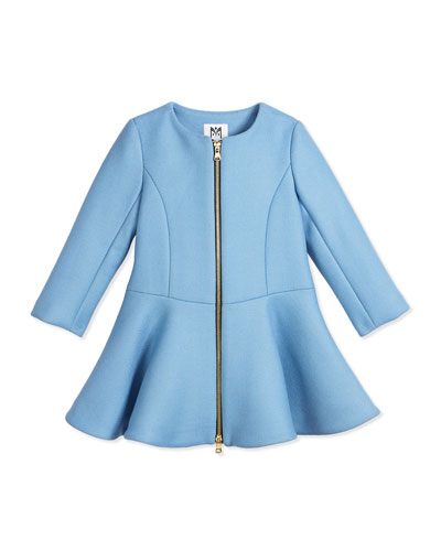 Emma Long-Sleeve Stretch Wool Fit-and-Flare Dress, Ice, Size 4-7