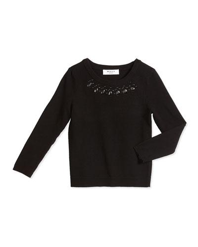 Rhinestone Pullover Sweater, Black, Size 4-7