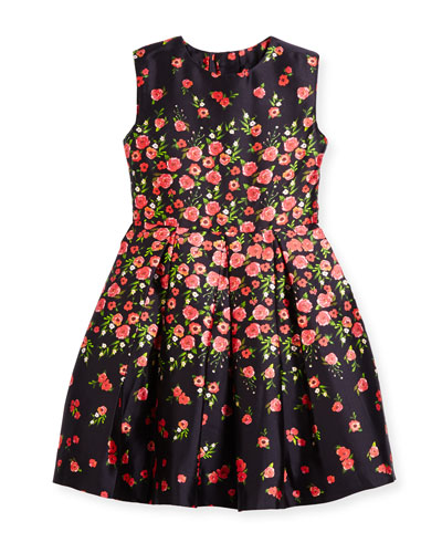 Degrade Pansies Mikado Party Dress, Navy/Ruby, Size 2-14