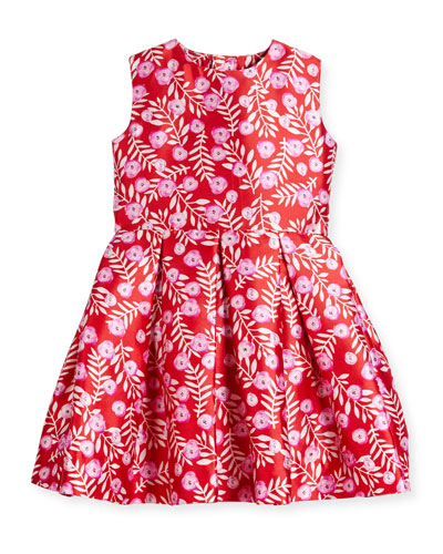 Sleeveless Abstract Floral Mikado Dress, Ruby/Fuchsia, Size 8-14