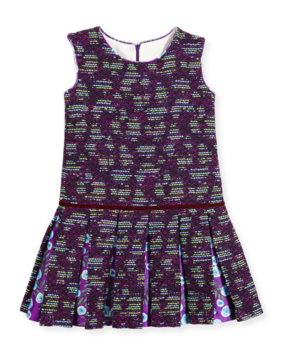 Sleeveless Metallic Tweed Pleated Dress, Ultraviolet/Multicolor, Size 3-14