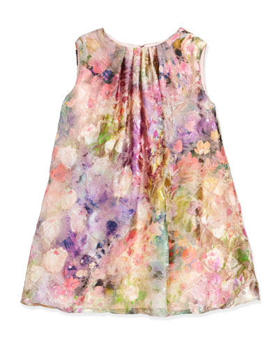 Sleeveless Floral Watercolor Shift Dress, Pink, Size 7-14