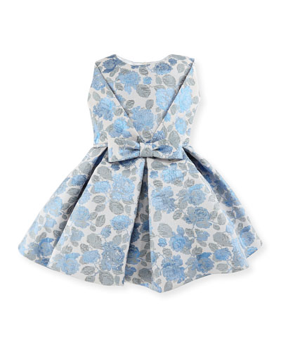 Pleated Floral Jacquard Dress, Blue/Silver, Size 12-18 Months