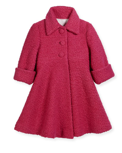 Wool-Blend Boucle Swing Coat, Fuchsia, Size 2-6
