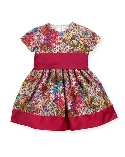 Banded Floral Party Dress, Fuchsia, Size 7-14