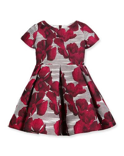 Short-Sleeve Floral Jacquard Pleated Dress, Fuchsia, Size 7-14