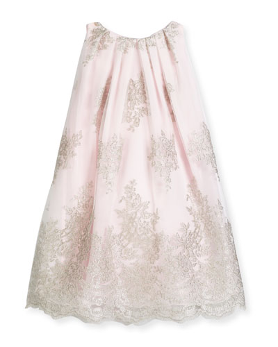 Sleeveless Embroidered Tulle Shift Dress, Pink, Size 4-6
