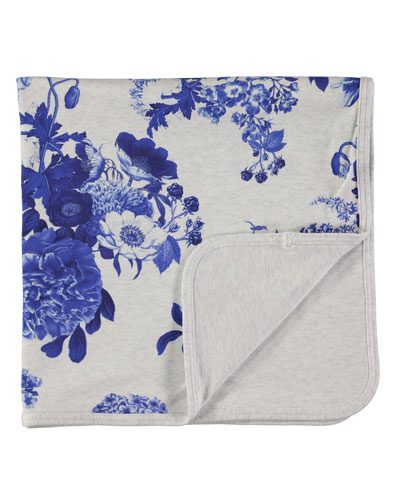Neala Porcelain Flowers Blanket, Gray/Royal