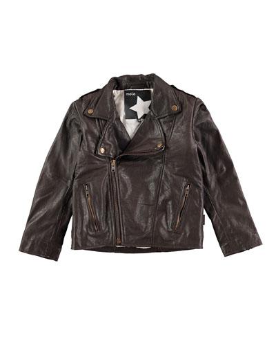 Hank Leather Moto Jacket, Earth, Size 6-10