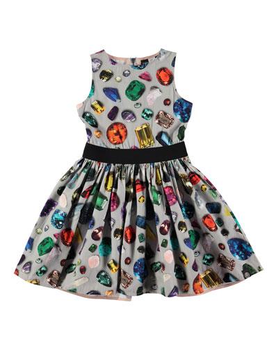 Carli Sleeveless Gemstone Dress, Gray/Multicolor, Size 2-12