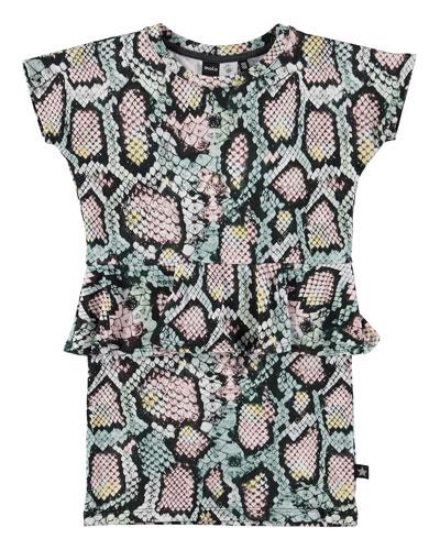 Christina Rattlesnake Peplum Dress, Multicolor, Size 3-12