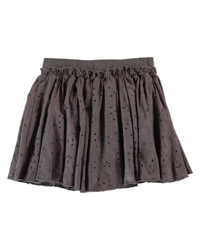 Bitten Smocked Eyelet Skirt, Pavement, Size 2-12