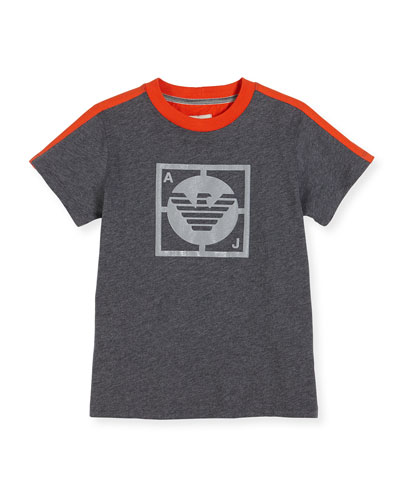 Short-Sleeve Two-Tone Logo Tee, Gray, Size 4-12