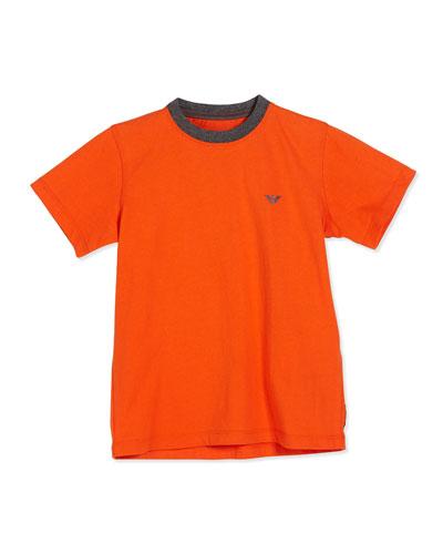 Short-Sleeve Basic Cotton Tee, Medium Orange, Size 4-12