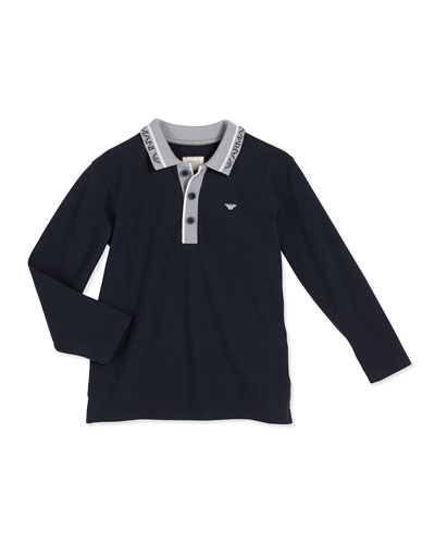 Long-Sleeve Stretch Pique Polo Shirt, Navy, Size 4-12