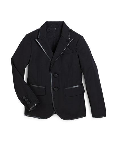 Tribe Faux-Leather-Trim Tuxedo Jacket, Black, Size 7-12
