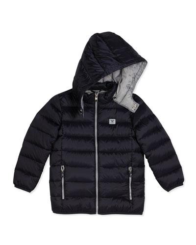 Hooded Down Zip-Front Puffer Coat, Navy, Size 4-12