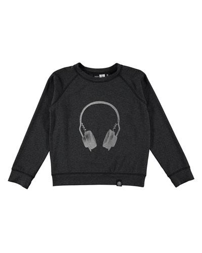 Ragni Melange Earphone Top, Dark Gray, Size 3-14