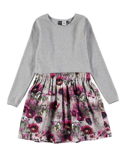 Credence Solid & Floral Dress, Gray/Pink, Size 2-12