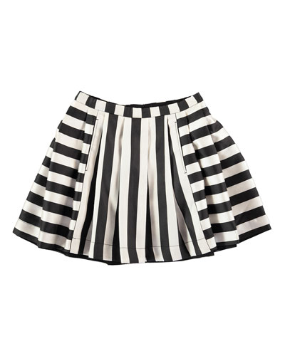 Becky Pleated Striped Skirt, Black/White, Size 3-14