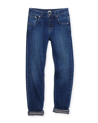 Straight-Leg Denim Jeans, Dark Denim, Size 2-5