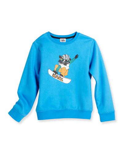Snowboard Cat Crewneck Sweatshirt, Blue, Size 2-5
