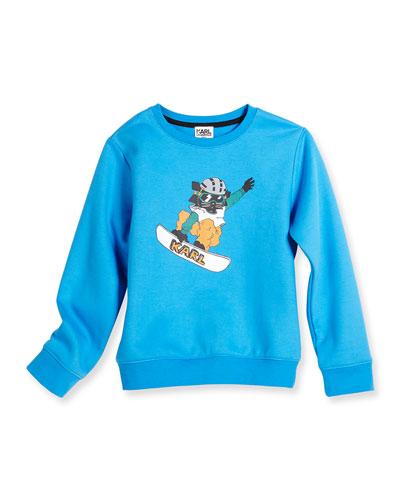 Snowboard Cat Crewneck Sweatshirt, Blue, Size 6-10