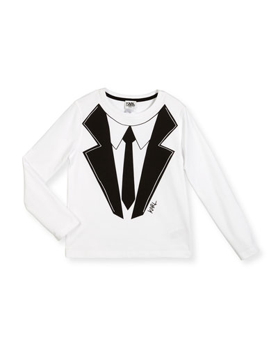 Long-Sleeve Suit & Tie Jersey Tee, White, Size 6-10