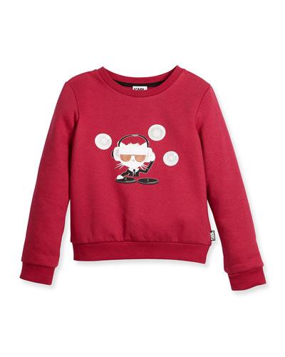DJ Choupette Pullover Sweatshirt, Cranberry, Size 6-10
