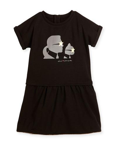 Milano Short-Sleeve Smocked Jersey Dress, Black, Size 6-10