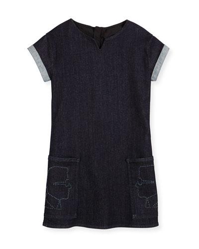 Cap-Sleeve Stretch Denim Shift Dress, Denim Blue, Size 6-10