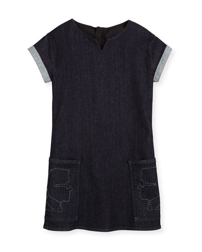 Cap-Sleeve Stretch Denim Shift Dress, Denim Blue, Size 12-16