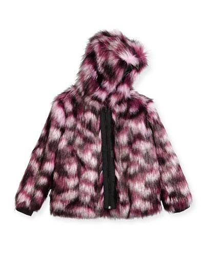 Hooded Faux-Fur Coat, Pink/Purple, Size 12-16