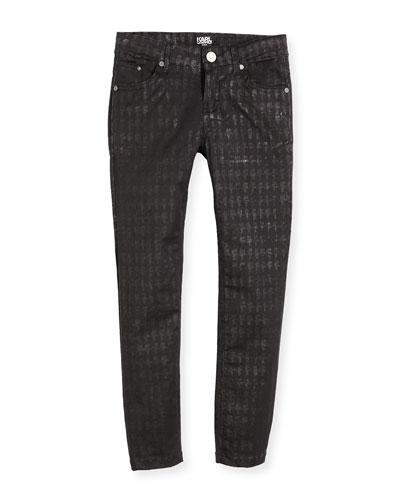 Karl-Print Stretch Skinny Jeans, Black, Size 2-5