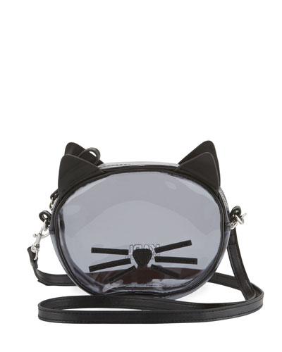 Girls' Transparent Cat Crossbody Bag, Black