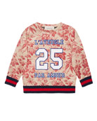 Floral Web-Trim Neoprene Pullover Sweatshirt, Romantic Cerise, Size 4-12