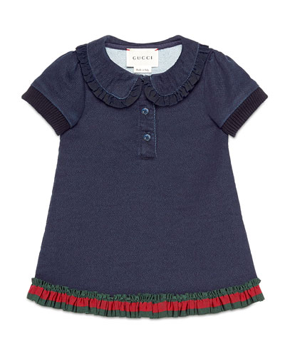 Denim-Style Pique Polo Dress, Indigo, Size 6-36 Months