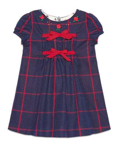 Cap-Sleeve Embroidered Check Shift Dress, Navy/Red, Size 6-36 Months