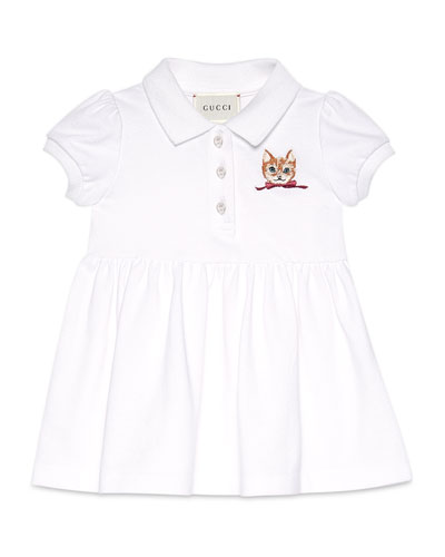 Short-Sleeve Embroidered Pique Polo Dress, White/Red, Size 6-36 Months